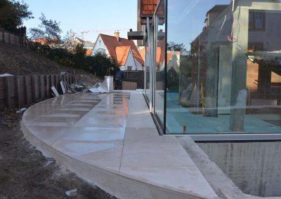 Tegelhuis Vanderougstraete - uitvoering werken natuursteen Knokke